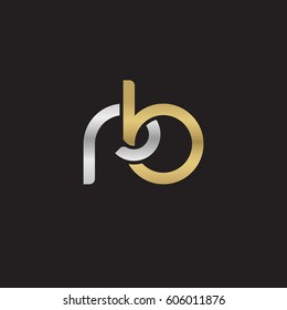 Initial letters rb, round overlapping chain shape lowercase logo modern design silver gold