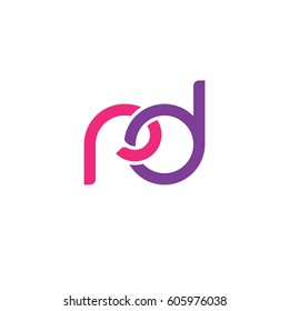 Initial letters rd, round overlapping chain shape lowercase logo modern design pink purple
