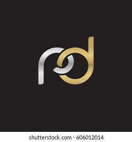 Initial letters rd, round overlapping chain shape lowercase logo modern design silver gold