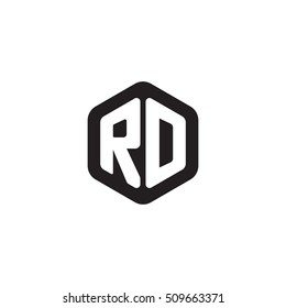 Initial letters RD rounded hexagon shape monogram black simple modern logo