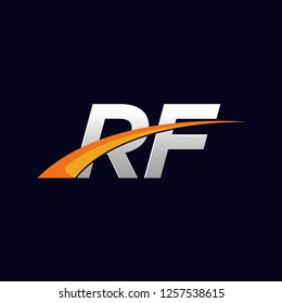 Initial letters RF vector illustrations designs overlapping with orange swoosh vector for company or factory logo on blue dark background.