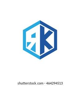 Initial letters RK negative space hexagon shape logo