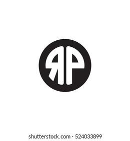 Initial letters RP circle shape monogram black simple logo