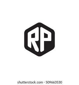 Initial letters RP rounded hexagon shape monogram black simple modern logo