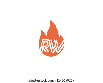 Initial letters RW in fire. Logo vector