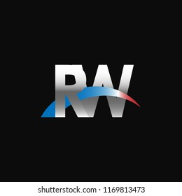 Initial letters RW overlapping movement swoosh logo, metal silver blue red color on black background