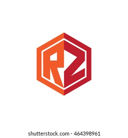 Initial letters RZ hexagon shape logo red orange