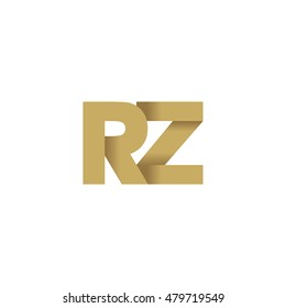 Initial letters RZ overlapping fold logo brown gold