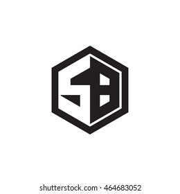 Initial letters SB negative space hexagon shape monogram logo