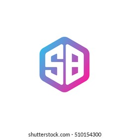 Initial letters SB rounded hexagon shape blue pink purple simple modern logo