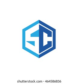 Initial letters SC negative space hexagon shape logo blue