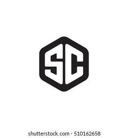 Initial letters SC rounded hexagon shape monogram black simple modern logo