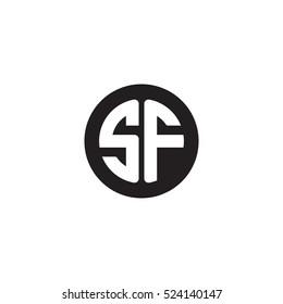 Initial letters SF circle shape monogram black simple logo
