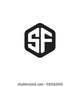 Initial letters SF rounded hexagon shape monogram black simple modern logo