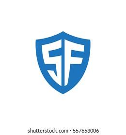 Initial letters SF shield shape blue simple logo