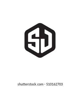 Initial letters SJ rounded hexagon shape monogram black simple modern logo