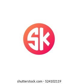 Initial letters SK circle shape red orange simple logo