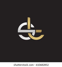 Initial letters st, round overlapping chain shape lowercase logo modern design silver gold