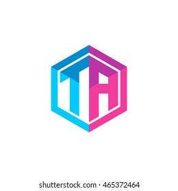 Initial letters TA hexagon box shape logo blue pink purple
