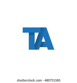 Initial letters TA overlapping fold logo blue