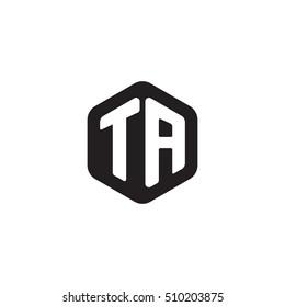 Initial letters TA rounded hexagon shape monogram black simple modern logo