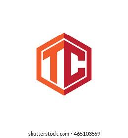 Initial letters TC hexagon shape logo red orange