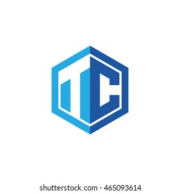 Initial letters TC negative space hexagon shape logo blue