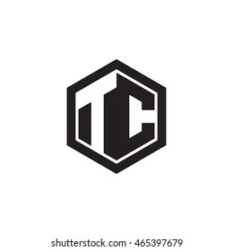 Initial letters TC negative space hexagon shape monogram logo
