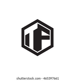 Initial letters TF negative space hexagon shape monogram logo