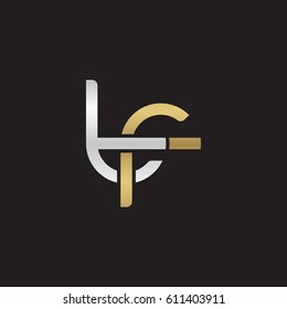 Initial letters tf, round overlapping chain shape lowercase logo modern design silver gold