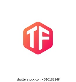 Initial letters TF rounded hexagon shape red orange simple modern logo