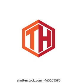 Initial letters TH hexagon shape logo red orange