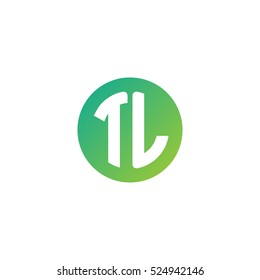 Initial letters TL circle shape green simple logo