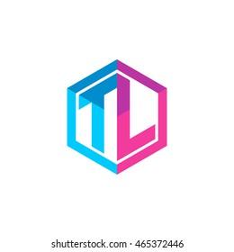 Initial letters TL hexagon box shape logo blue pink purple
