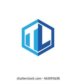Initial letters TL negative space hexagon shape logo blue
