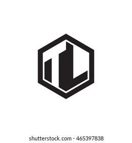 Initial letters TL negative space hexagon shape monogram logo