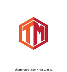Initial letters TM hexagon shape logo red orange
