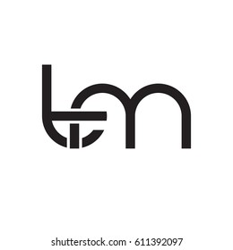 Initial letters tm, round overlapping chain shape lowercase logo modern design monogram black