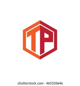 Initial letters TP hexagon shape logo red orange