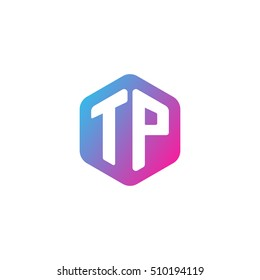 Initial letters TP rounded hexagon shape blue pink purple simple modern logo