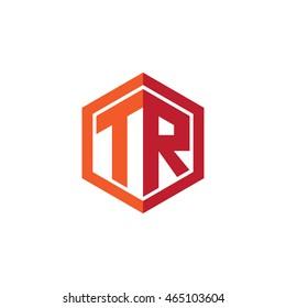 Initial letters TR hexagon shape logo red orange
