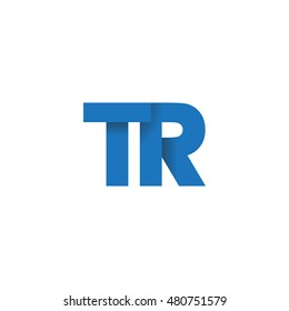 Initial letters TR overlapping fold logo blue