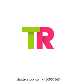 Initial letters TR overlapping fold logo green magenta