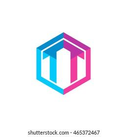 Initial letters TT hexagon box shape logo blue pink purple