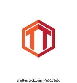 Initial letters TT hexagon shape logo red orange