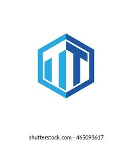 Initial letters TT negative space hexagon shape logo blue