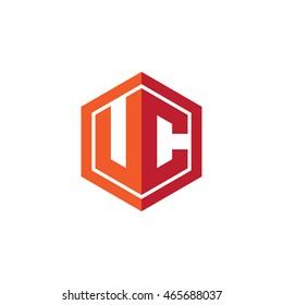 Initial letters UC hexagon shape logo red orange