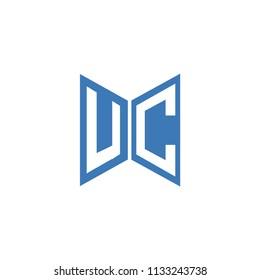 Initial Letters UC Logo Design Linked Logo, Hexagonal Shape