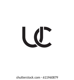 Initial letters uc, round overlapping chain shape lowercase logo modern design monogram black