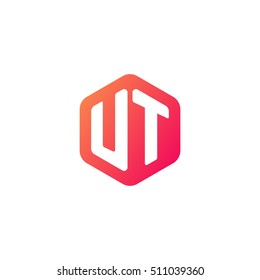 Initial letters UT rounded hexagon shape red orange simple modern logo